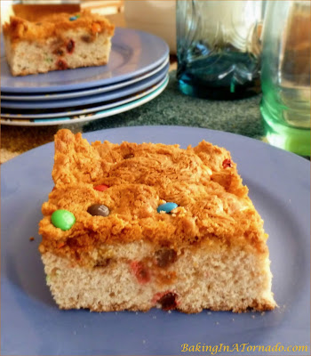 Rustic Butterscotch M&M bars, a cake like bar with a hint of banana, studded with mini M&Ms, topped with melted butterscotch. | Recipe developed by www.BakingInATornado.com | #recipe #dessert