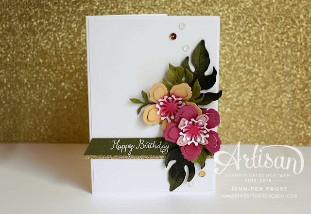 Botanical Blooms Builder Framelits Die, TGIFc43, Happy Birthday card, Stampin' Up!, Papercraft by Jennifer Frost