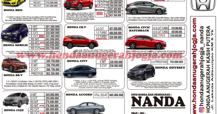 Brosur Harga Mobil Honda Agustus 2018 Di Jogja Honda Anugerah Jogja 0821 3537 7700