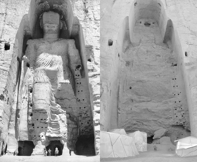 Taller Buddha of Bamiyan 1963 and 2008 after destruction
