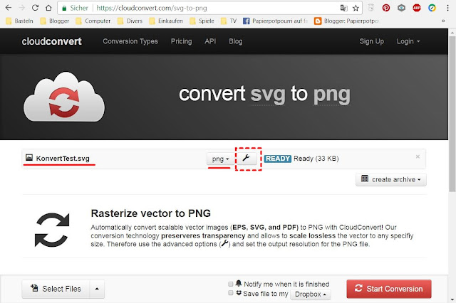 "Screenshot der Website ""cloudconvert"""