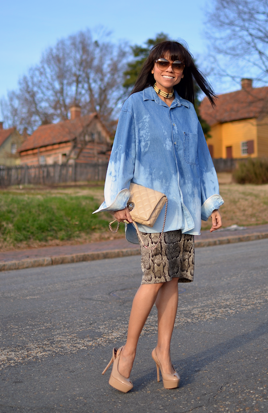 Outfit with tie dyed denim shirt