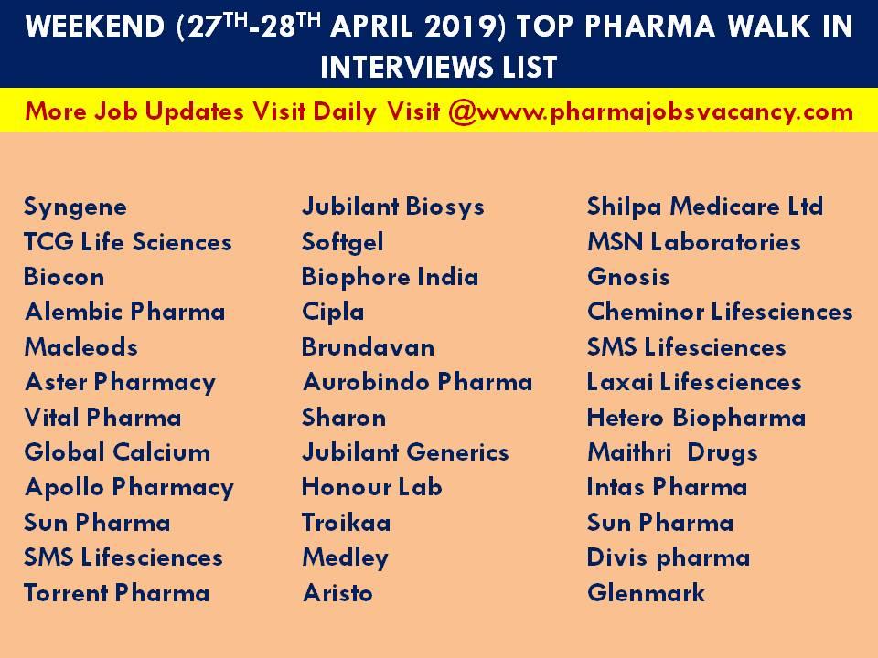 Pharmajobs: Weekend(27th-28th Apr' 2019) Top pharma Walk in