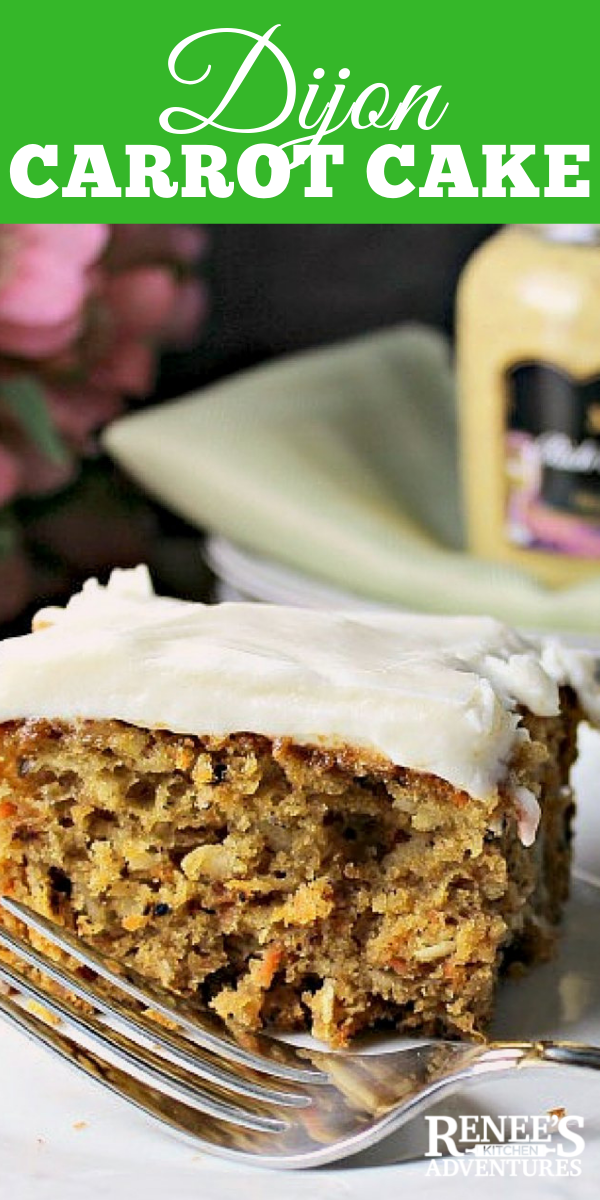 Dijon Carrot Cake with Cream Cheese Frosting pin for Pinterest