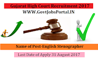 Gujarat High Court Recruitment 2017– English Stenographer