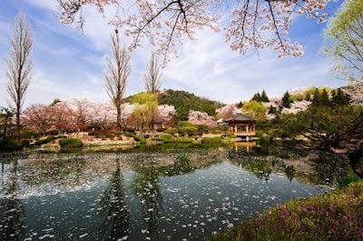 Gambar Pemandangan Indah di Korea Bomun Pavilion Gyeongju Tempat Wisata Danau
