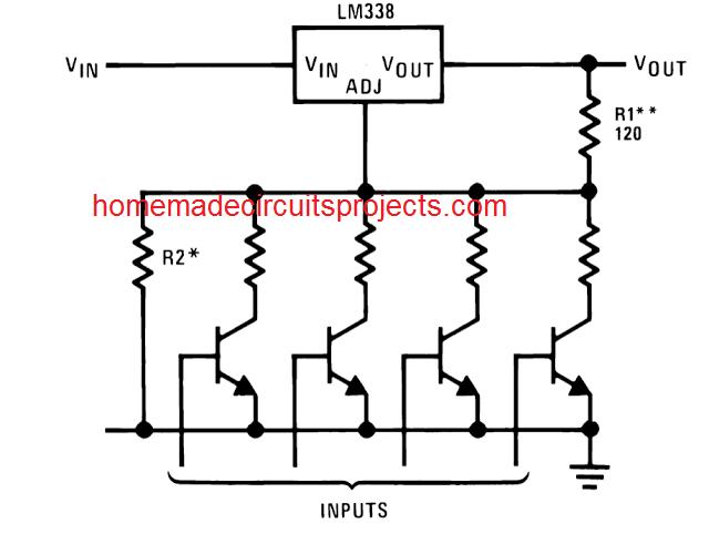 digitally adjustable LM338 voltage output
