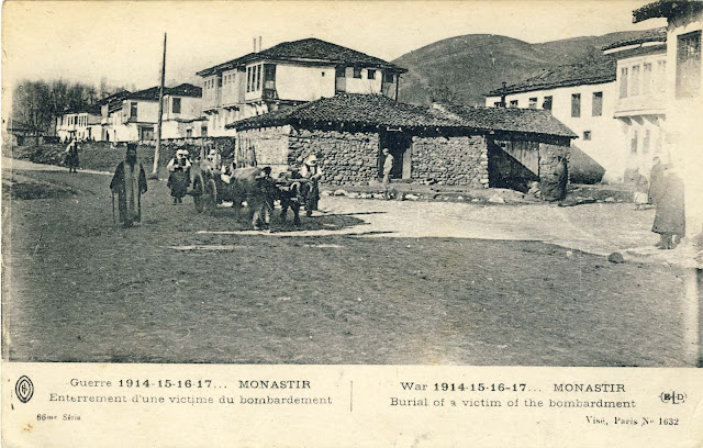 """Postcard titled """"Burial of a victim of the bombardment"""", published 1917"""