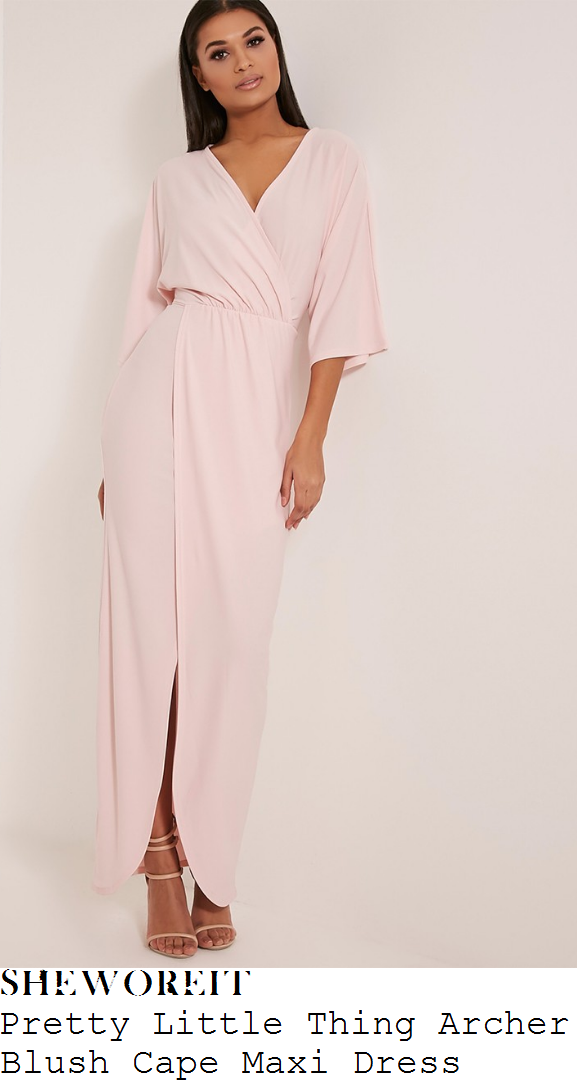 vicky-pattison-pretty-little-thing-archer-pale-blush-pink-cape-sleeve-v-neck-wrap-front-draped-maxi-dress