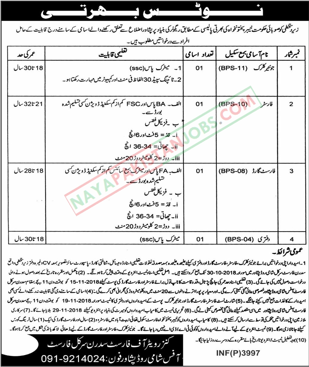 Latest Vacancies Announced in Forest Department Govt Of Khyber Pakhtunkhwa 14 Oct 2018 - Naya Pakistan