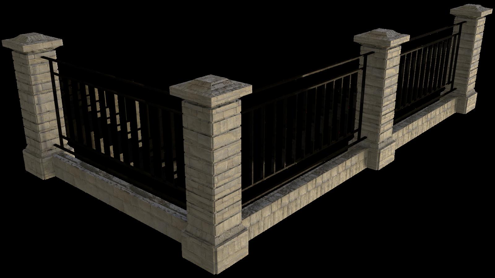Free 3D Wall Fence CC0 3DS - Free 3D Models Under Public Domain