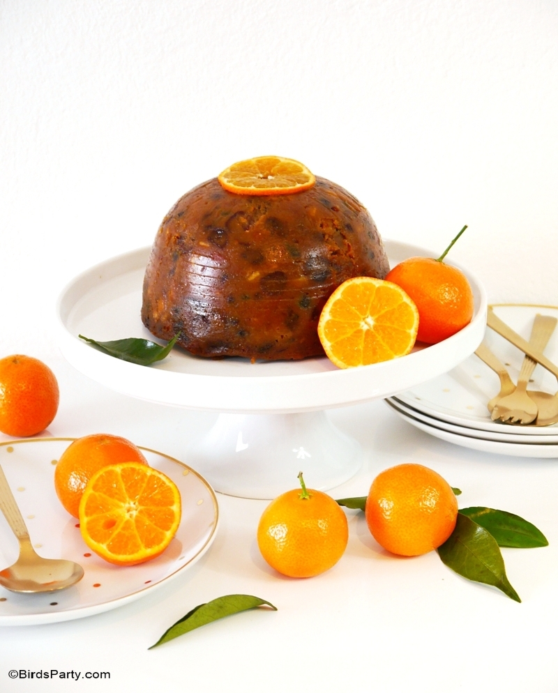 Fruity & Boozy British Christmas Pudding Recipe - BirdsParty.com