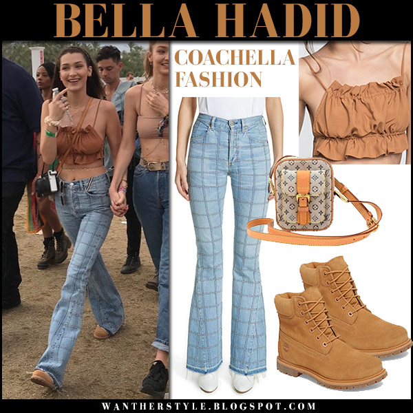Bella Hadid in brown crop top and flared checked jeans jean atelier janis coachella model fashion 2018