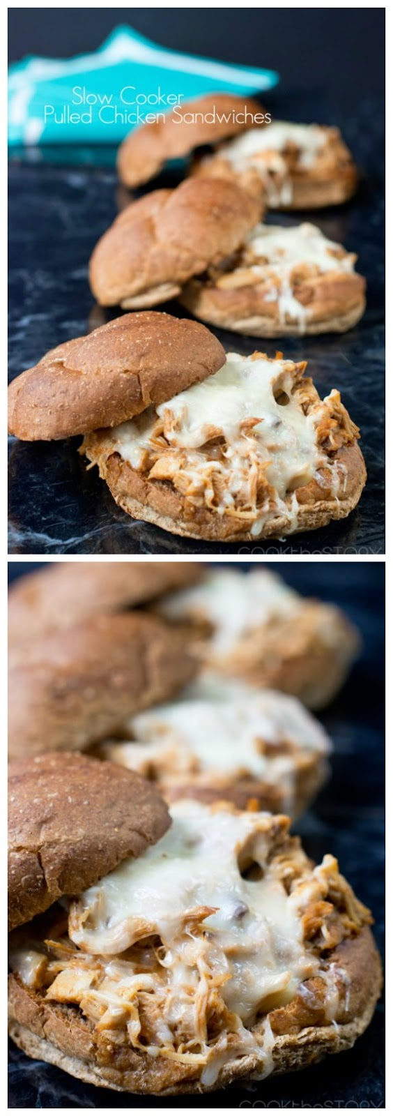 Slow Cooker Pulled Chicken Sandwiches from Cook the Story found on SlowCookerFromScratch.com