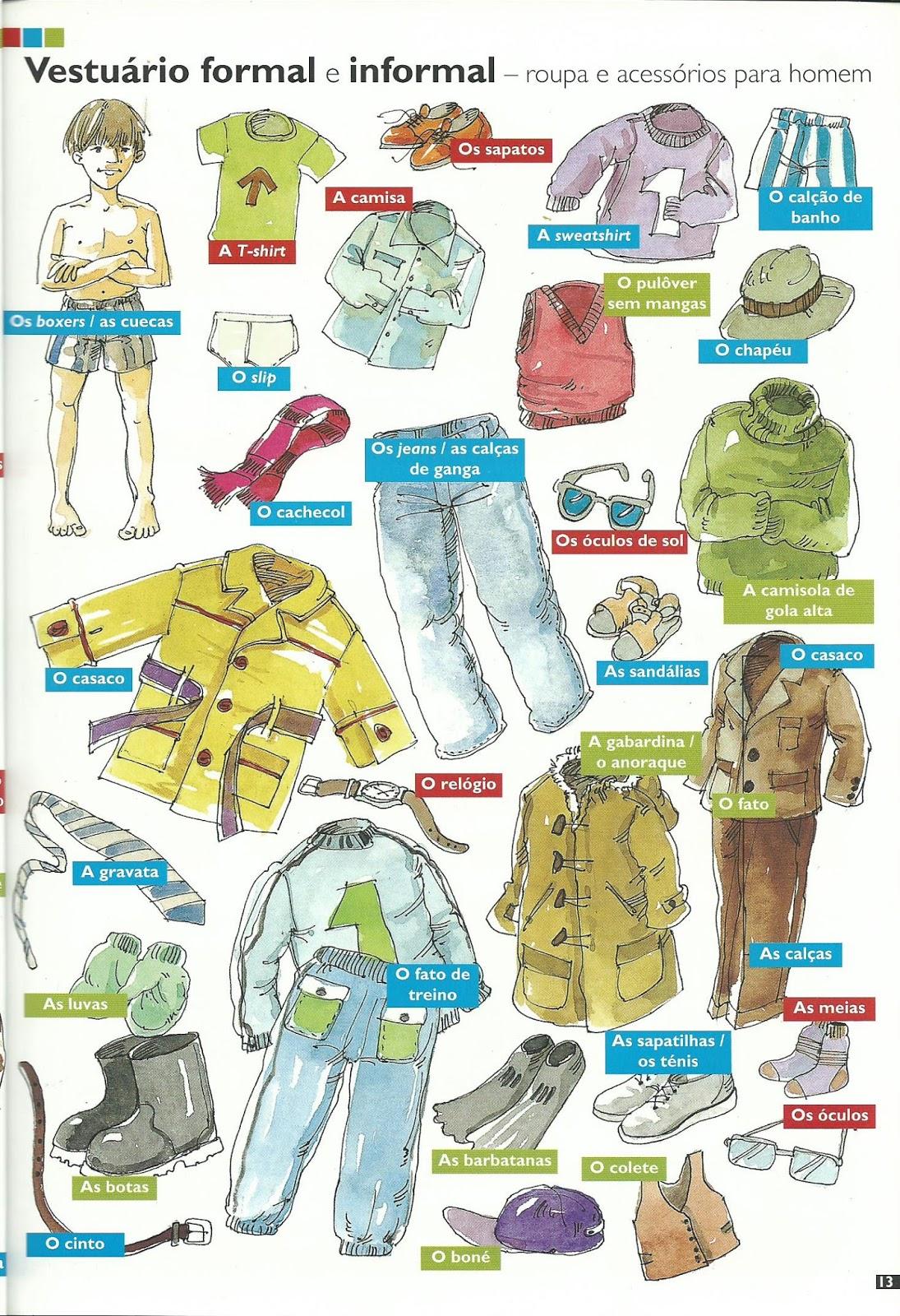13 - VESTUÁRIO FORMAL E INFORMAL: roupa e acessórios para homem - CLOTHES:  casual and formal men's wear