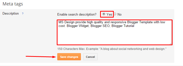 blogger description meta tags