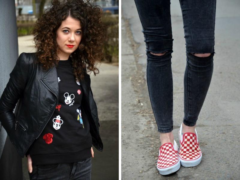 Bluza z Myszką Miki, Vansy, spodnie z dziurami, kręcone włosy, streetstyle