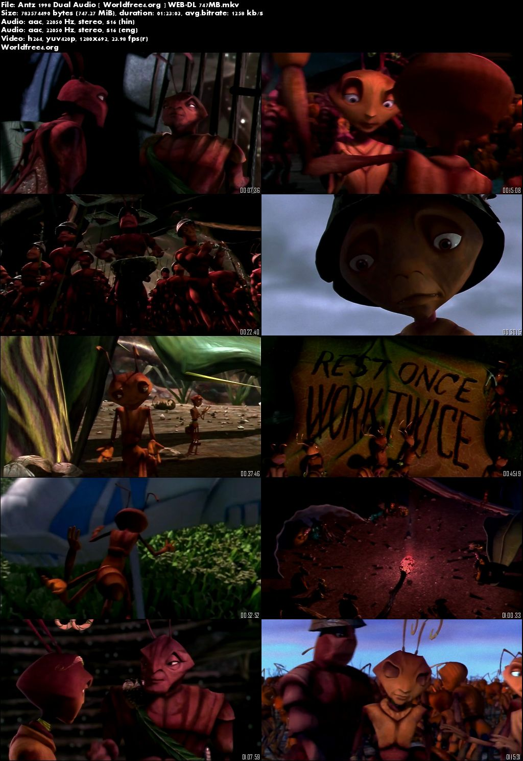 Antz 1998 WEB-DL Hindi 275MB Dual Audio 480p Download