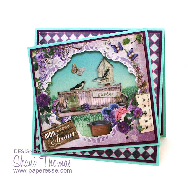 La Provence decoupage anniversary card, with Studio Light La Provence Diorama card pack elements, by Paperesse