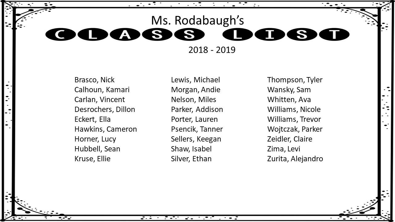 Rodabaugh's Rockstars: 2019