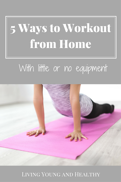 5 Ways to Work out from Home with little or no equipment required.  Be consistent with your new year's resolutions by working one of these fitness programs into your daily life.  #homeworkout #homefitness #fitnessapps #fitnessmotivation #workoutfromhome #curatingthegoodlife #newyearsresolution  www.livingyoungandhealthy.com
