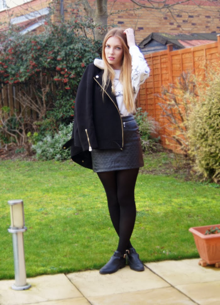 boy london jumper leather primark skirt H&M Biker jacket topshop cut out boots