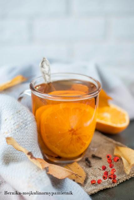 jesien, herbata,zima, imbir, pomarancza, napoj, bernika, kulinarny pamietnik