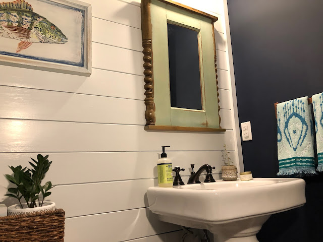 White shiplap against navy walls and painted blue ceilings | The Lowcountry Lady