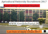 Agricultural University Recruitment 2017 Teaching Assistant
