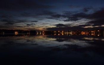 Wallpaper: City lights at twilight