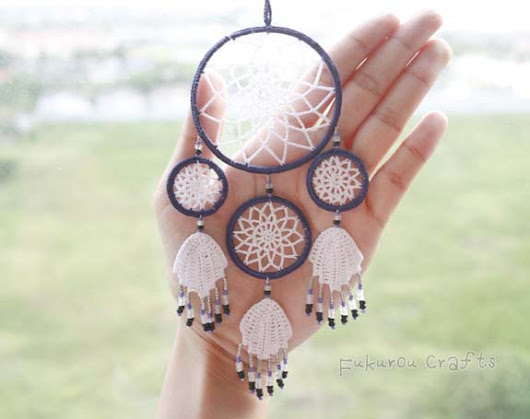Crochet mini dream catcher, lucky charms for car, char charms, car charms, cute dream catcher, lucky dream catcher