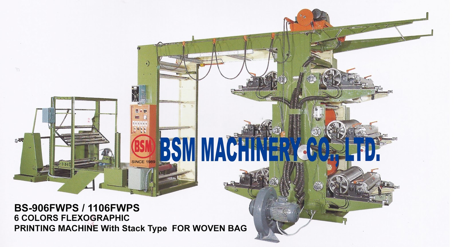 6 COLORS FLEXOGRAPHIC PRINTING MACHINE With Stack Type For WOVEN BAG
