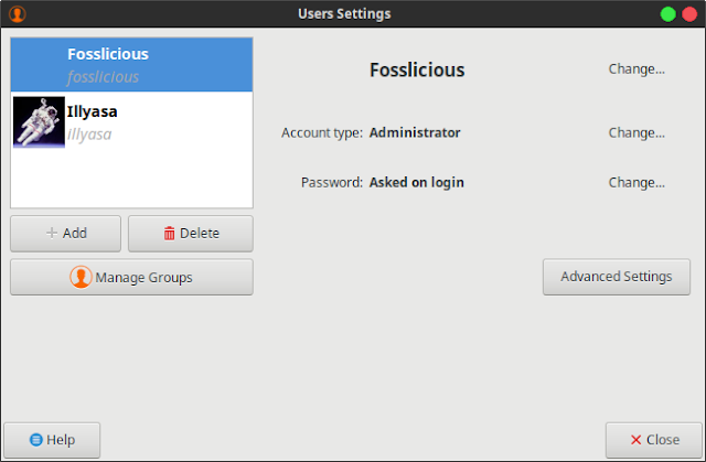 Users and Groups Xubuntu