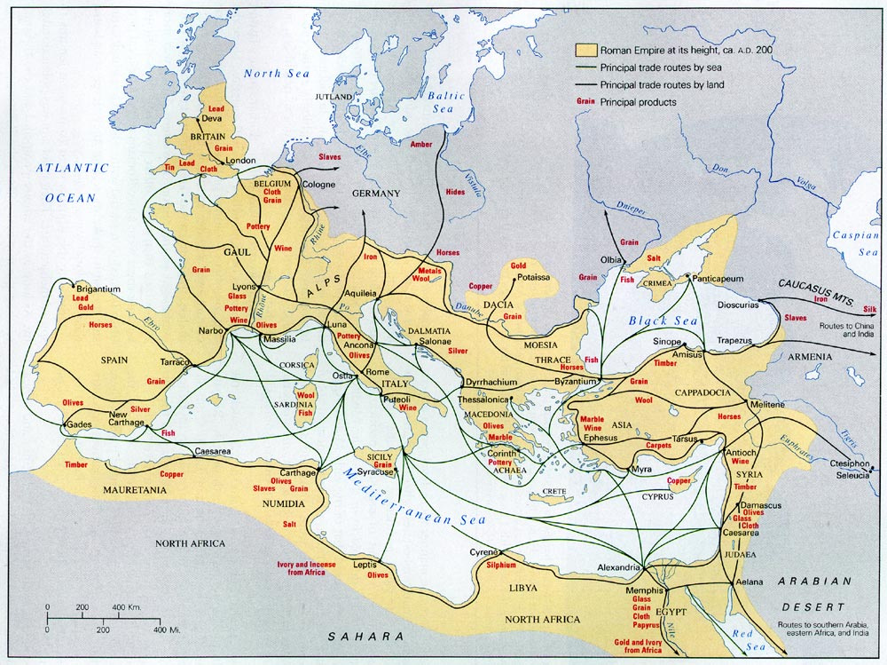 Roman trade routes and principal products in each region