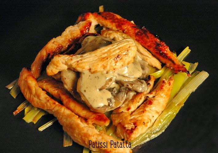 recette d'aiguillettes de dindes caramélisées, lit de poireaux, champignons à la crème, caramelized turkey