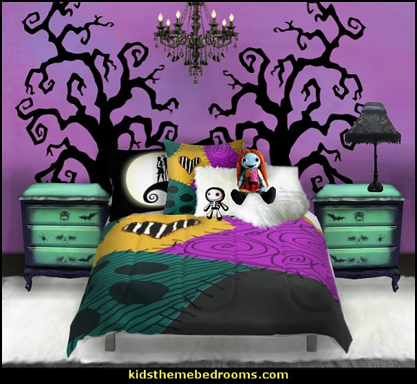 Nightmare Before Christmas theme bedroom decorating ideas - jack skellington decor - Nightmare Before Christmas Bedroom Decor -  Jack skellington Sally the nightmare before Christmas - Nightmare Before Christmas  bedding - Halloween - Tim Burton - Sally Nightmare Before Christmas bedroom