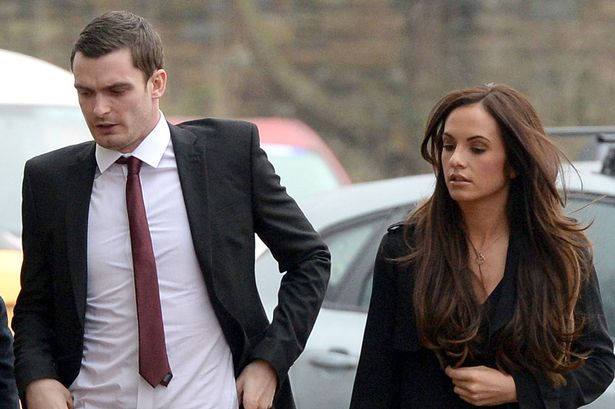Text messages: Adam Johnson, pictured with his girlfriend Stacey Flounders