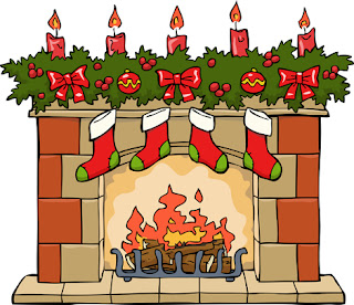 Clipart image of Christmas stocking hanging on the fireplace
