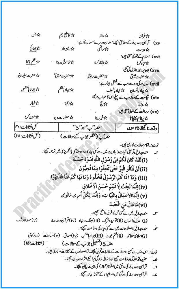 11th-islamiat-five-year-paper-2015