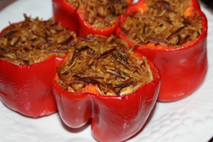Cooking ~ Stuffed Red Bellpeppers with Wild Rice