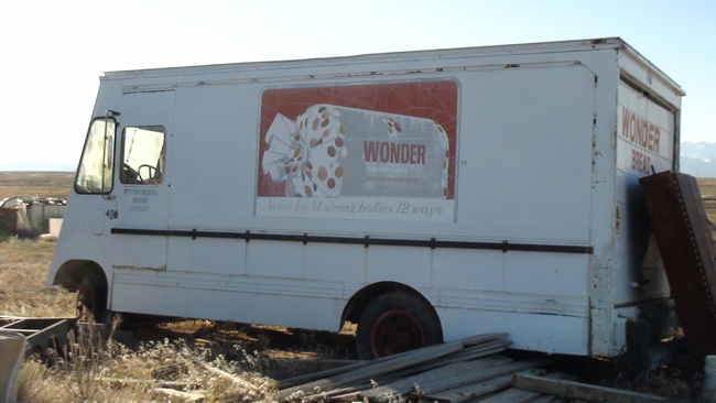 Abandoned Wonderbread Truck in Cisco, Utah ghost town