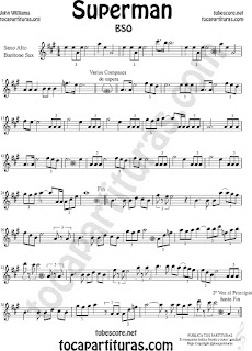 Saxofón Alto y Sax Barítono Partitura de Superman Sheet Music for Alto and Baritone Saxophone Music Scores
