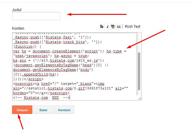 Cara Memasang Kode atau Script Pada Blogger