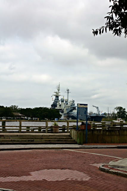 View of the Battleship North Carolina from the River Walk in Wilmington, NC.