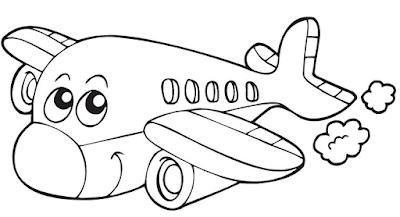 Gambar Mewarnai Pesawat Terbang - 12