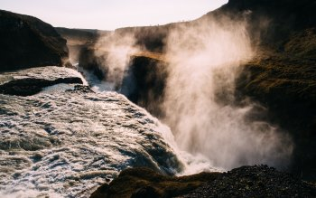 Wallpaper: Waterfalls. Iceland. Sunny. River