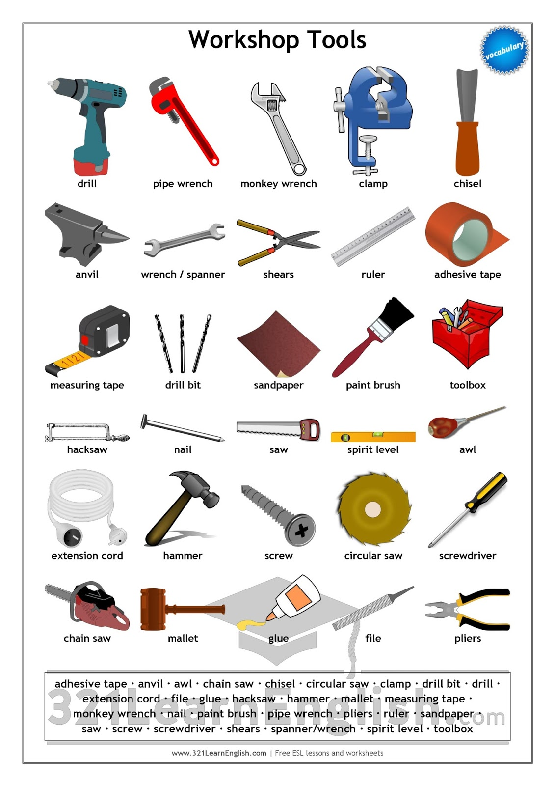 Garage Tools Worksheet