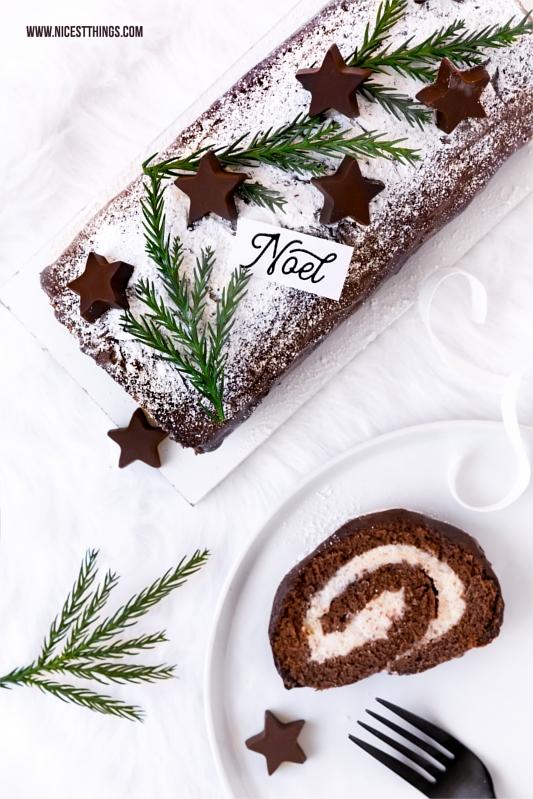 Bûche de Noël Rezept mit Schokoladen Biskuit und Maronencreme