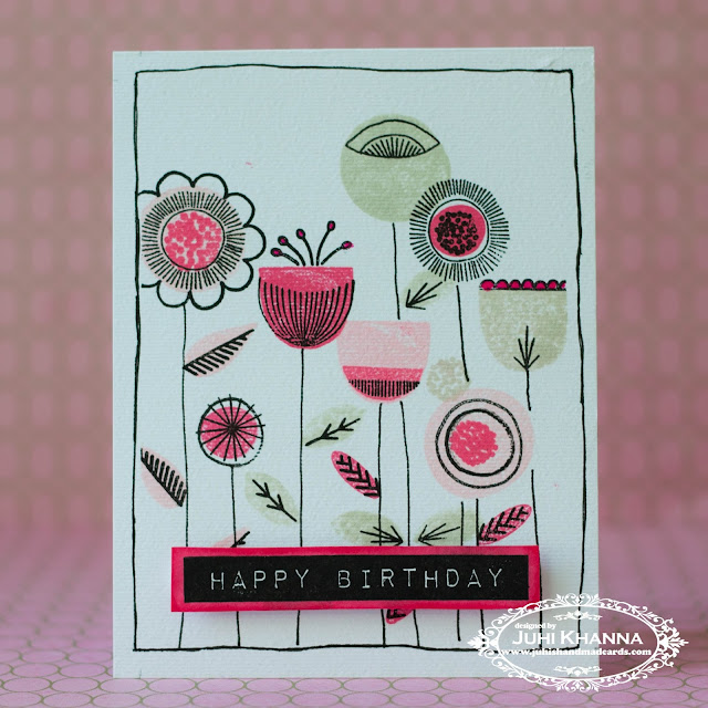 One layer stamped card with #neatandtangled #scandinavianprints stamps. Love the whimsical flowers