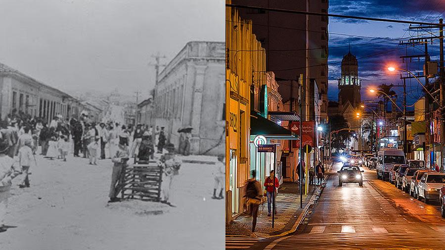 Rua José Bonifácio conhecida como Rua Direita em Pinhal - Foto Antiga e Atual